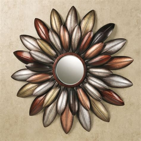 arris layered floral mirrored metal wall