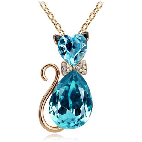 rhinestone pendants jewelry rhinestone cat necklace