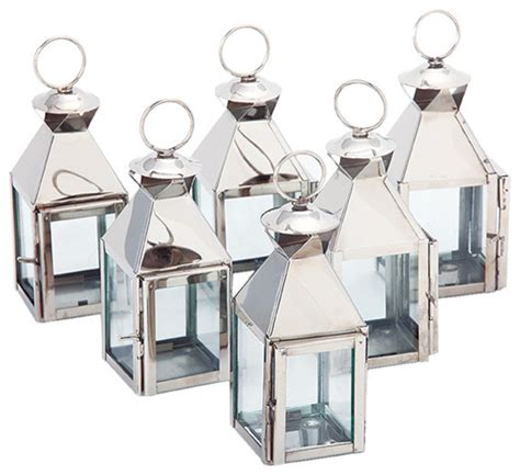 Wholesale Home Decor Accents mini classic lanterns polished nickel set of 6