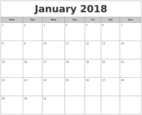 printable monthly calendar jan 2018 january 2018 free monthly calendar