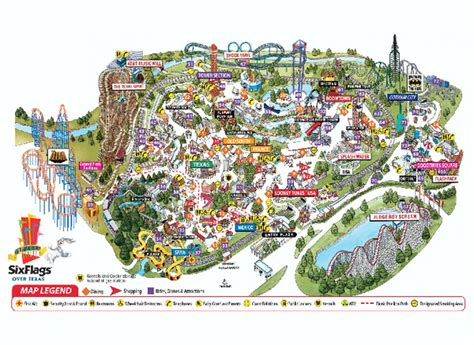 six flags texas map six flags texas theme park map 2201 road to six flags arlington