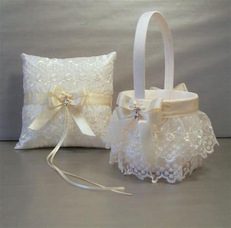 Ivory Flower Basket And Ring Bearer Pillow Set wedding bridal flower basket and ring bearer pillow