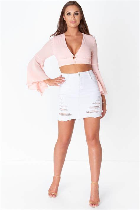 Ripped Denim Mini Skirt white ripped denim mini skirt
