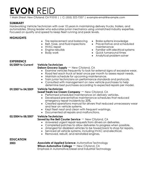 resume exle for automotive mechanic resume exles templates best automotive technician resume exles automotive technician