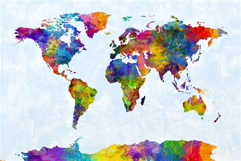 water color map watercolour map of the world print by michael tompsett au