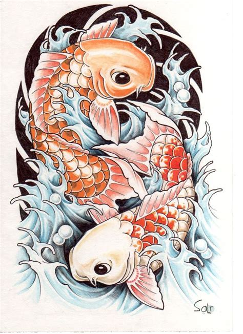 koi fish tattoo drawing design ying yang coy designs for back