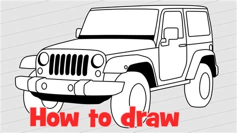 jeep drawing how to draw a car jeep wrangler rubicon youtube