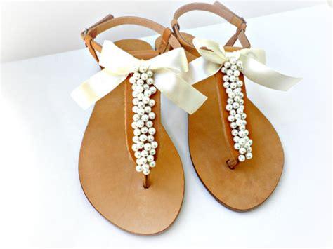 Sandalette Hochzeit by Hochzeit Sandalen Griechische Ledersandalen Mit Elfenbein