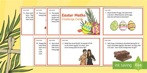 easter card templates twinkl year 3 easter maths challenge cards ks2 easter 2017 16th