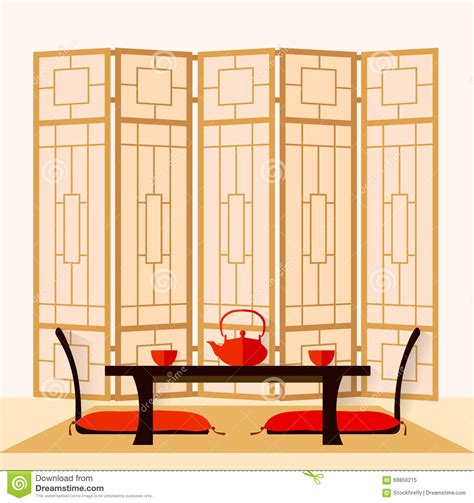 japanese tea ceremony room japanese interior vector stock vector image 68856215