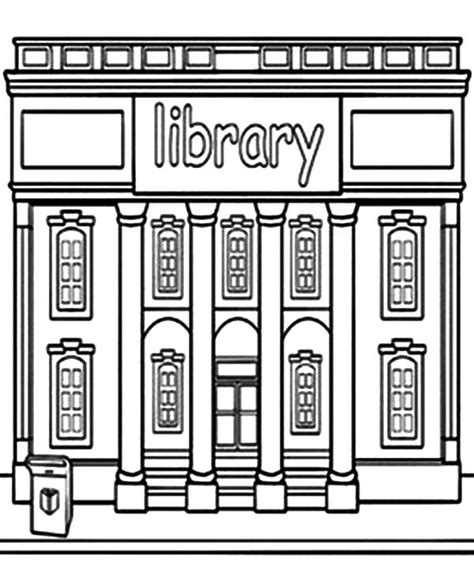 color library library building coloring pages print