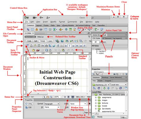 web layout terminology lecture 1 2 initial web page construction