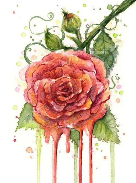 Buy Duvet Cover Online Red Rose Dripping Watercolor Painting By Olga Shvartsur