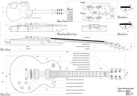 What Size Paper Are Blueprints Printed On by Set Of 4 Electric Guitar Plans Gibson Les Paul Gibson