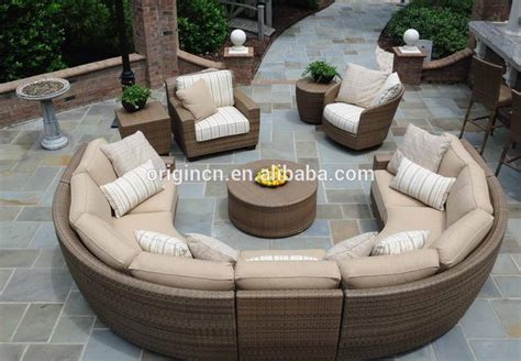 Half Circle Patio Furniture 11 Seater Curved Rattan Sofa Set With Lounge Chair Sectional Wicker Semi Circle Patio Furniture