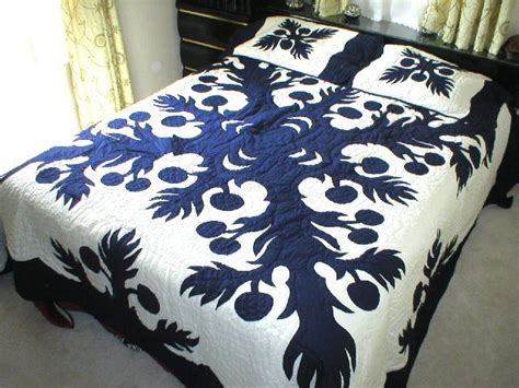 Hawaiian Quilt Bedding by King Sz Breadfruit Hawaiian Quilt Bedding Comforter 2 Pillow Shams Navy Blue Ebay