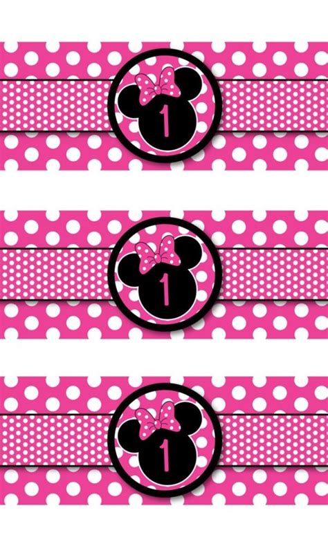 minnie mouse water bottle labels polka dot
