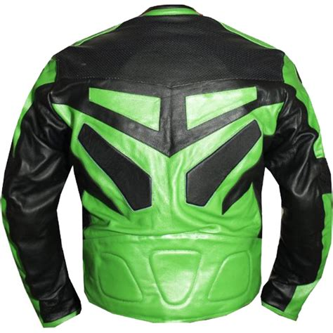 Armor Motorcycle Riding Leather Jacket In Green Leather
