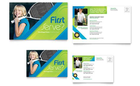 tennis club c postcard template design