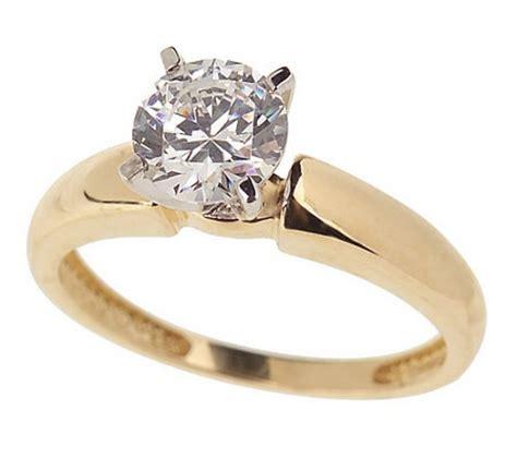 diamonique 1 ct solitaire ring 14k gold j18094