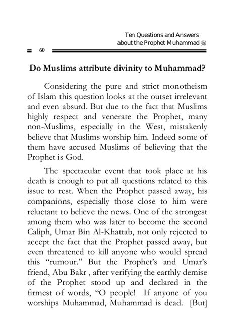 Beneficent Bids by Ten Questions And Answers About The Prophet Muhammad Pbuh
