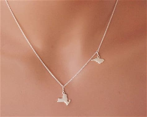 California State Outline Charm by Two State Necklace Gold All 50 State Jewelry California