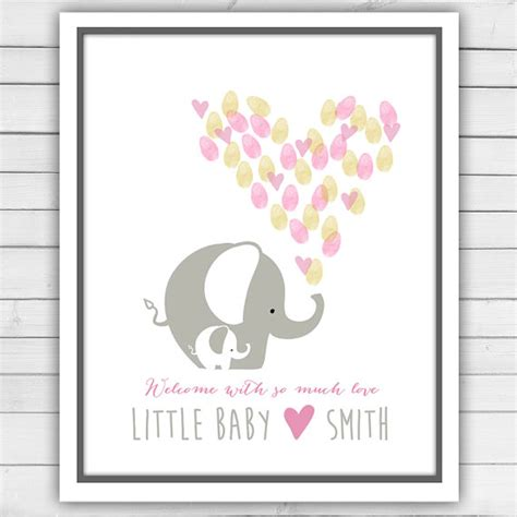 printable baby shower guest book template elephant baby shower guestbook thumbprint guestbook baby