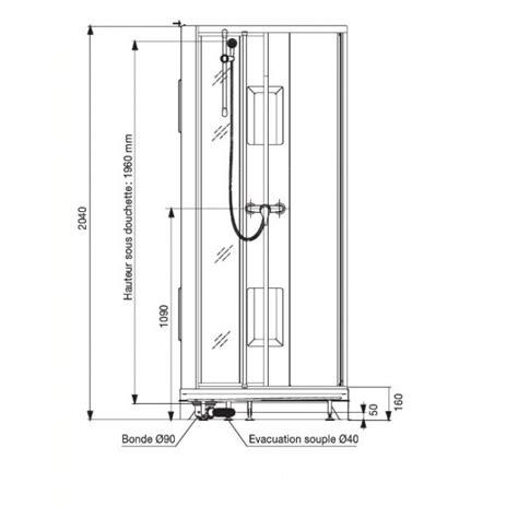cabine de 90 x 90 cm acc 232 s d angle par portes
