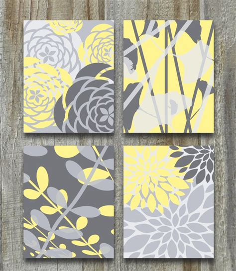 yellow gray print set modern vintage floral nature