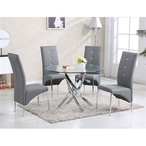 glass table with 4 grey chairs daytona glass dining table with 4 vesta grey chairs