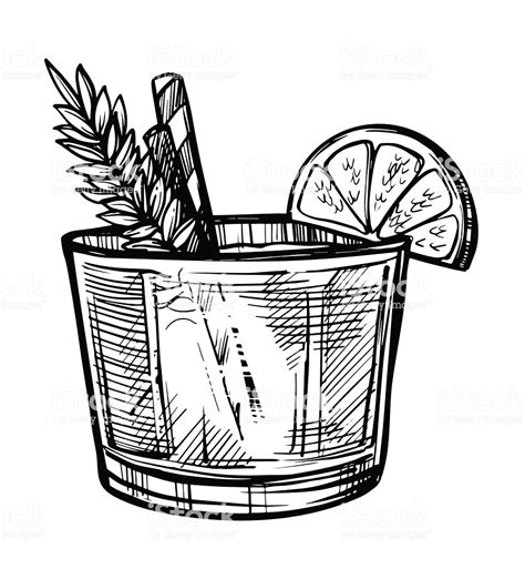 cocktail drawing alcoholic cocktail sketch stock vector