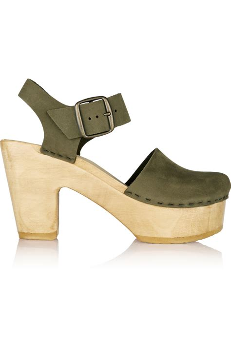no 6 shoes lyst no 6 nubuck clogs army green in green