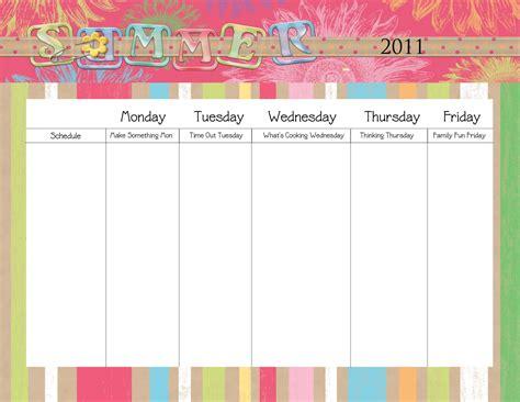 Blank Monday Through Friday Printable Calendar Newhairstylesformen2014 Com Free Summer C Schedule Template