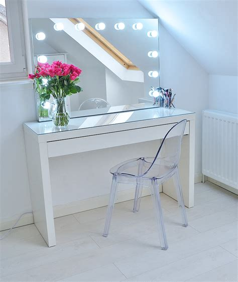 beauty blogger vanity table suggestions makeup storage ideas ikea malm makeup vanity with mirror