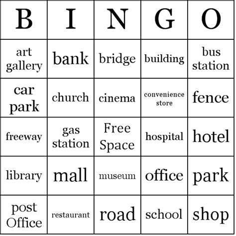 places in the city bingo cards