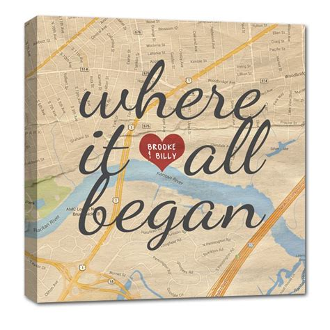 Wedding Anniversary Locations by Custom Map Canvas Your Location Where It All Began