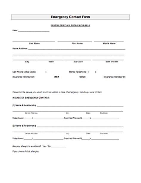 Emergency Contact Form In Of Emergency Form Template