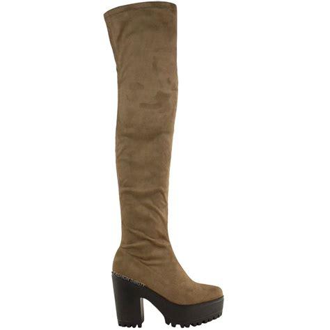 thigh high boots chunky heel womens the knee thigh high chunky