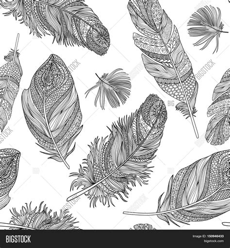 tribal pattern feather feather seamless pattern vector feathers on a white