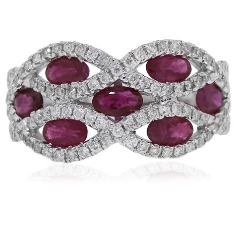 14kt White Gold Oval Cut Ruby and Round Cut Diamond Wide