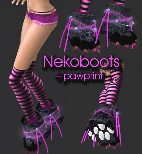 3second Print Pink second marketplace neko paw boots knee