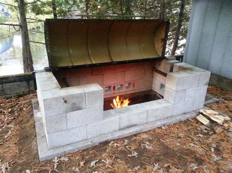 Cinder Block Pit Inexpensive And Attractive Ideas Large Rotisserie Pit Bbq