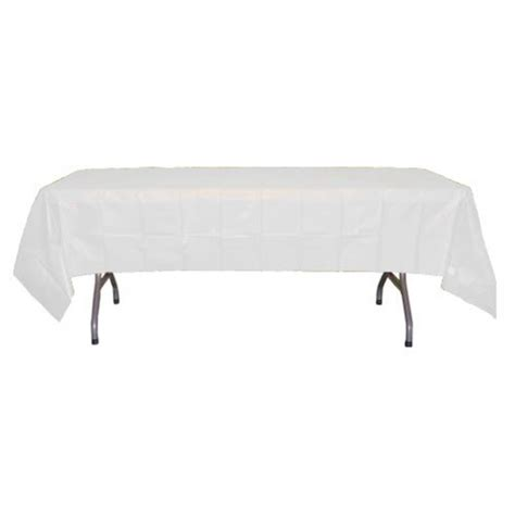 table with white tablecloth white rectangular plastic tablecloths 54 quot x 108