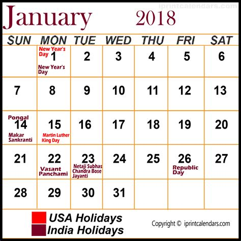 Calendar 2018 January Holidays January 2018 Calendar With Holidays Templates Tools