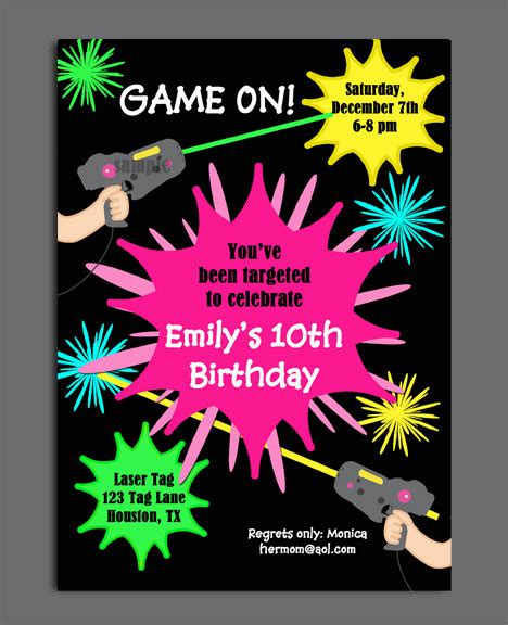 printable birthday invitations laser tag laser tag girl birthday invitation printable or printed with