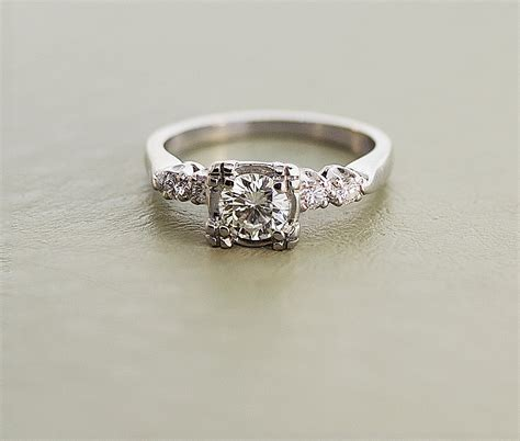 white gold vintage engagement rings white gold