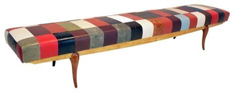 ladari chandelier caviuna and pau marfim patchwork faux leather bench