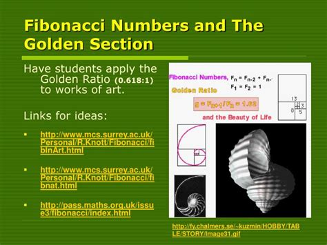 fibonacci numbers and the golden section ppt using technology in the visual arts powerpoint