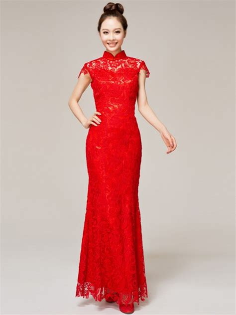 ankle length lace cheongsam qipao wedding