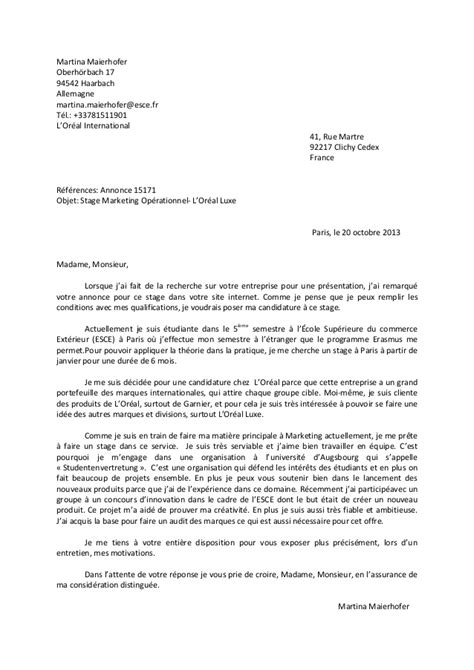 Lettre De Motivation Stage 1 Mois Lettre De Motivation Stage 6 Mois Document